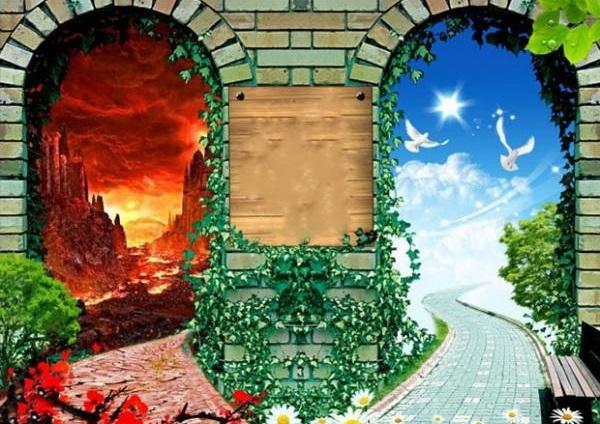 چه جملاتی روی دربهای بهشت و جهنم نوشته شده است؟