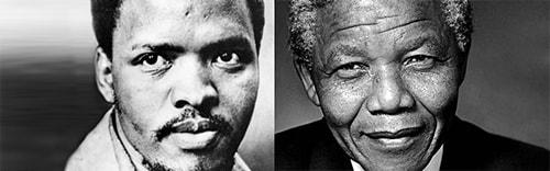 از راست: نلسون ماندلا و استیو بایکو