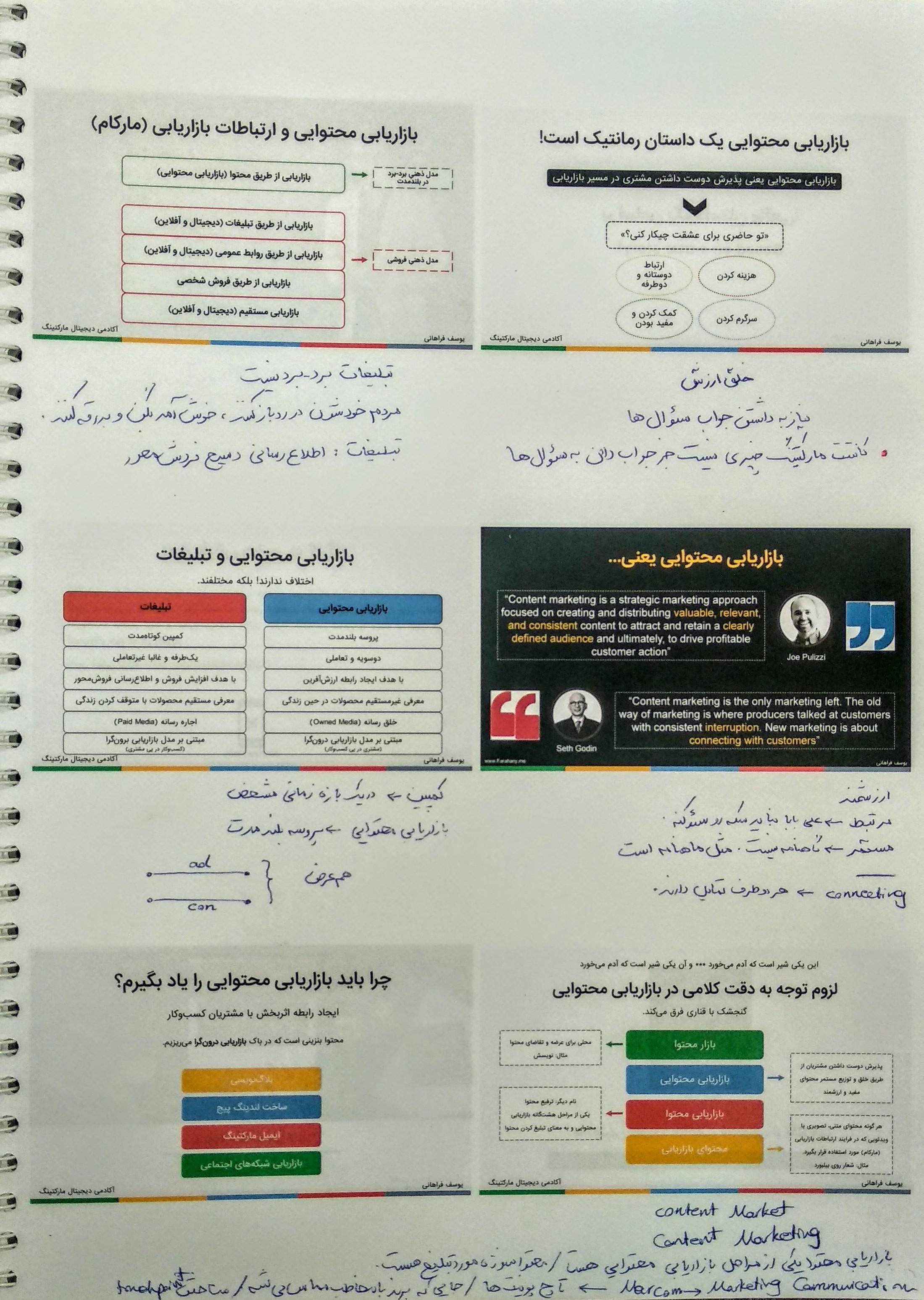 یک صفحه از جزوه دوره بازاریابی محتوایی یوسف فراهانی