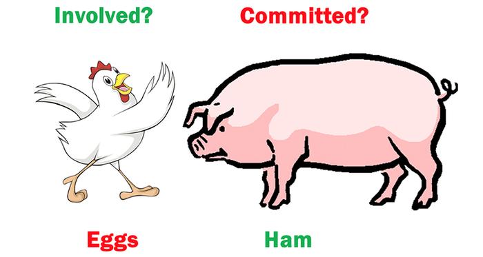 در هر مشارکتی مسئله این است، خوک یا مرغ؟