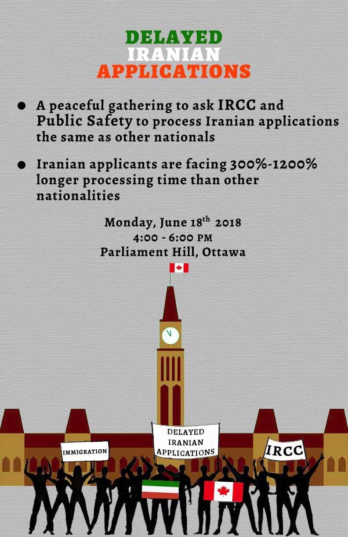 تجمع کمپین پروندههای ایرانی دچار تاخیر در مقابل پارلمان کانادا