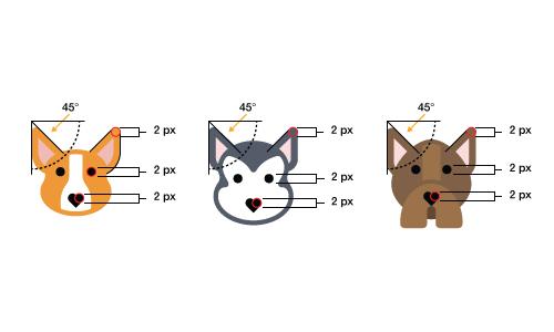 (Kem Bardly:این سه آیکون سگ در طراحی  عناصر سبک مشترک دارند و وحدت زیبایی شناختی ایجاد می کنند. (تصویر