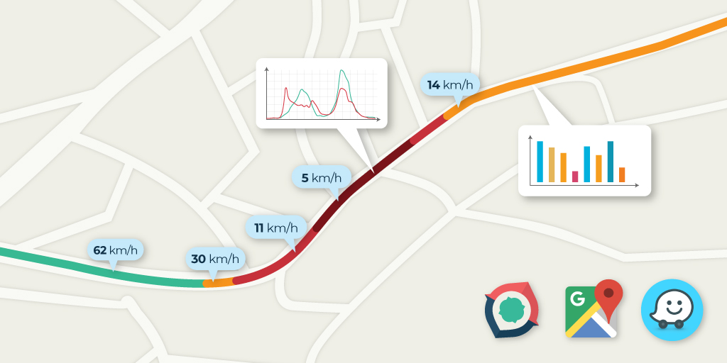 مقایسه زمان سفر مسیریاب نشان، ویز و گوگلمپز