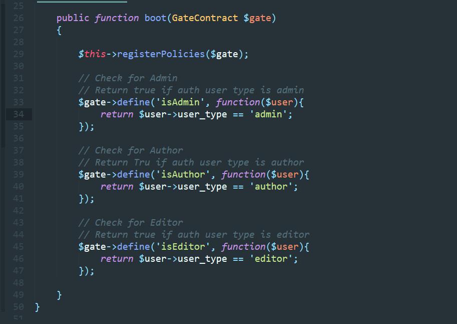 تعریف Gate ها برای مشخص کردن سطح دسترسی