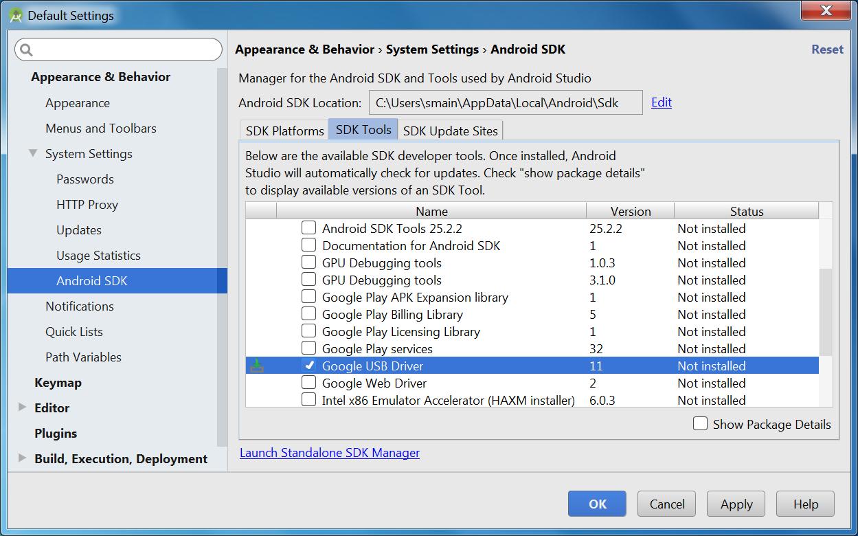 Google SDK manager