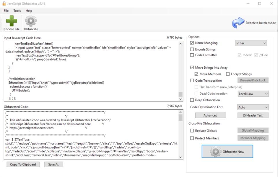چگونه کدهای جاوا اسکریپت ام را رمزنگاری کنم؟