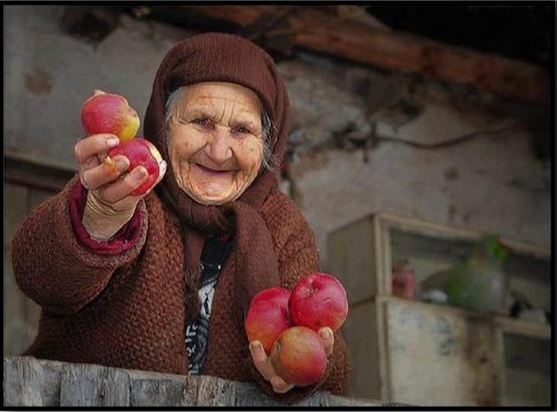 پیرزن و میوه فروش