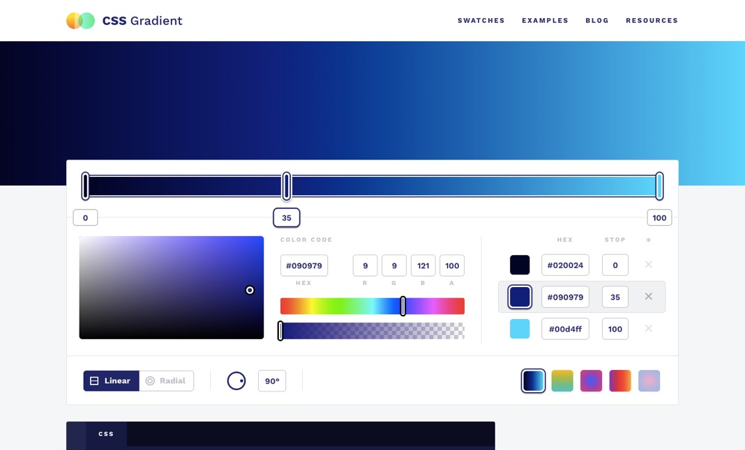 سایت CSS Gradient
