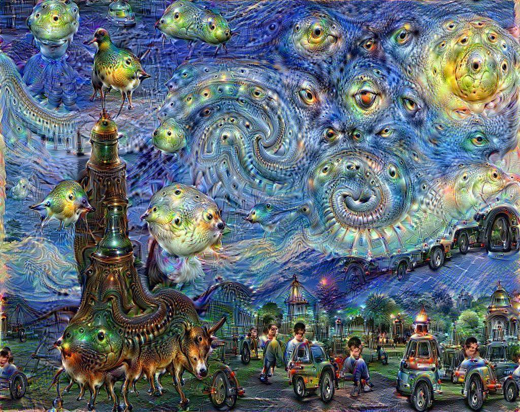 این نقاشی توسط هوش مصنوعی کشیده شده. (احتمالا برای خوشحال کردن ما انسانها اینطوری کشیده، وگرنه گمان نمیکنم خودِش چنین دیدی به دنیا داشته باشه. :) )