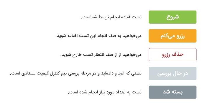 راهنمای دکمههای مربوط به تست در تستادی