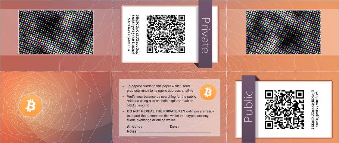 کلیدهای عمومی و خصوصی کیف پول کاغذی (منبع)