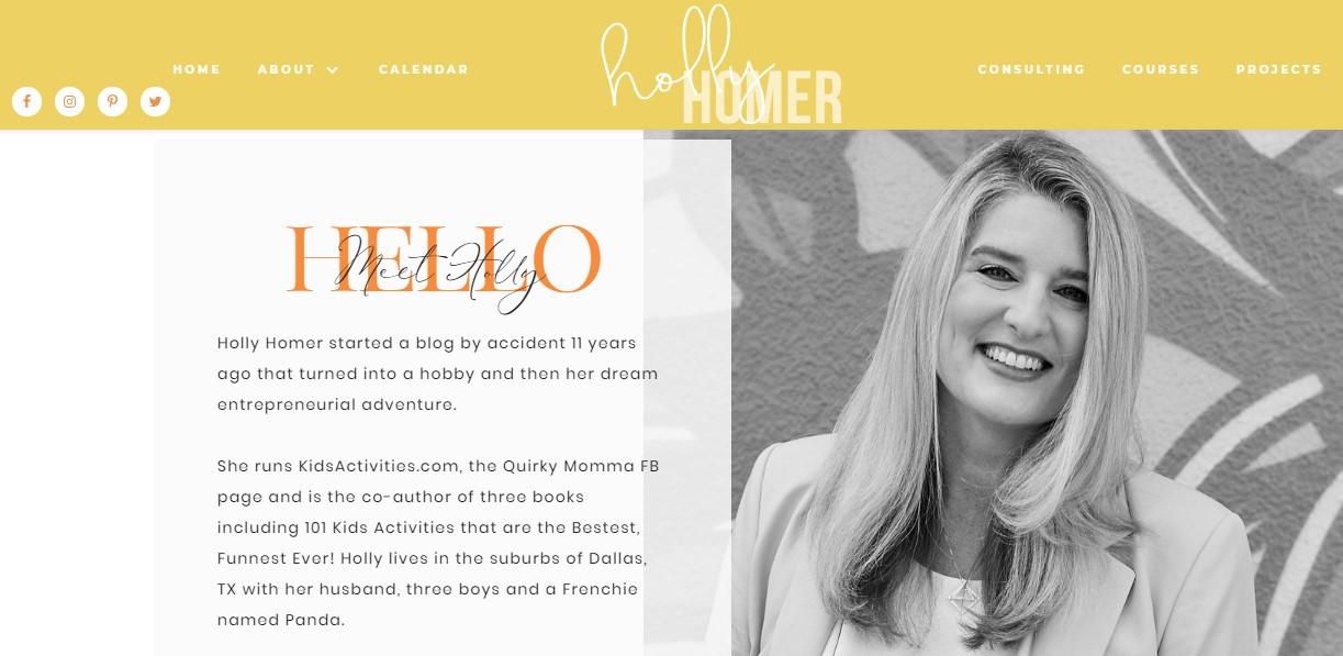 هولی هومر، بیشتر فعالیتهای او مربوط به بلاگ و صفحه پینترست است.