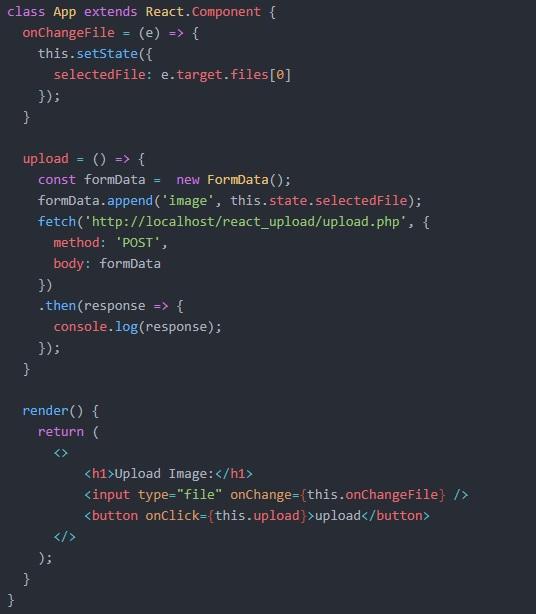 آپلود فایل با PHP و react