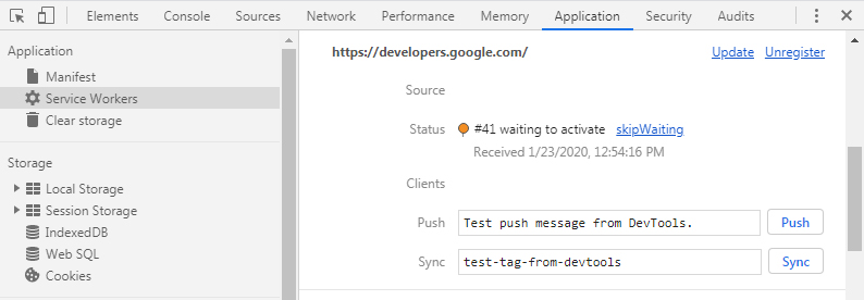 Google Chrome manage Service Workers