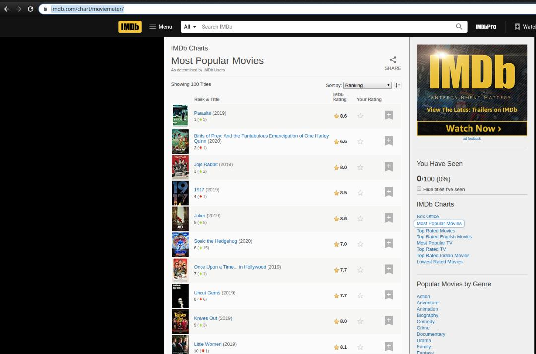 Scraping imdb top 100 with help of Cheerio and Nightmare.js