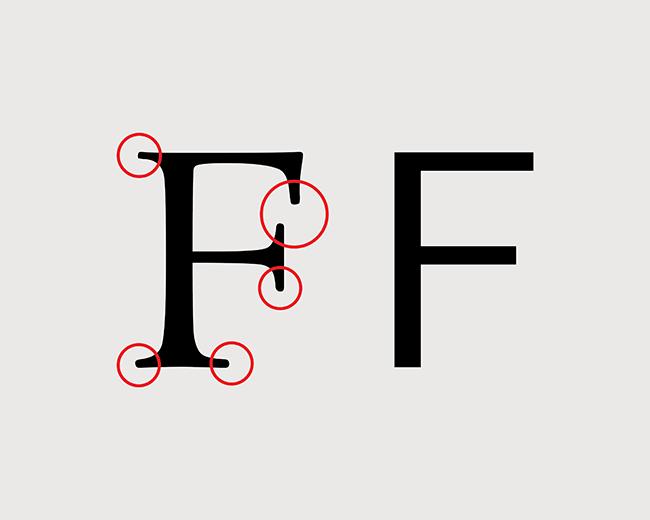 تصویر ۱: سریفها به وضوح درفونت «لگاسی سریف» (Legacy Serif) (تصویر سمت چپ) دیده میشوند، در حالی که در لگاسی سنس (Legacy Sans) (تصویر سمت راست) حذف شدهاند.