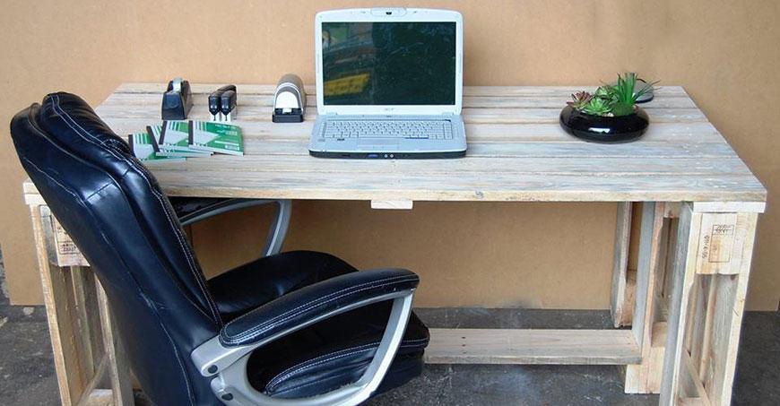 ساخت میز کامپیوتربا استفاده از پالت | مبلمان اداری بنکو