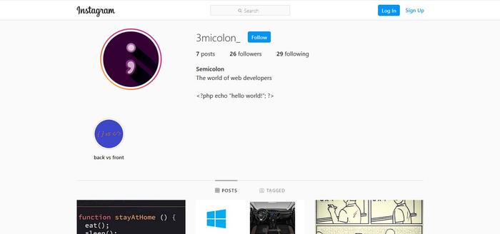 یه صفحه اینستا برای برنامه نویس ها