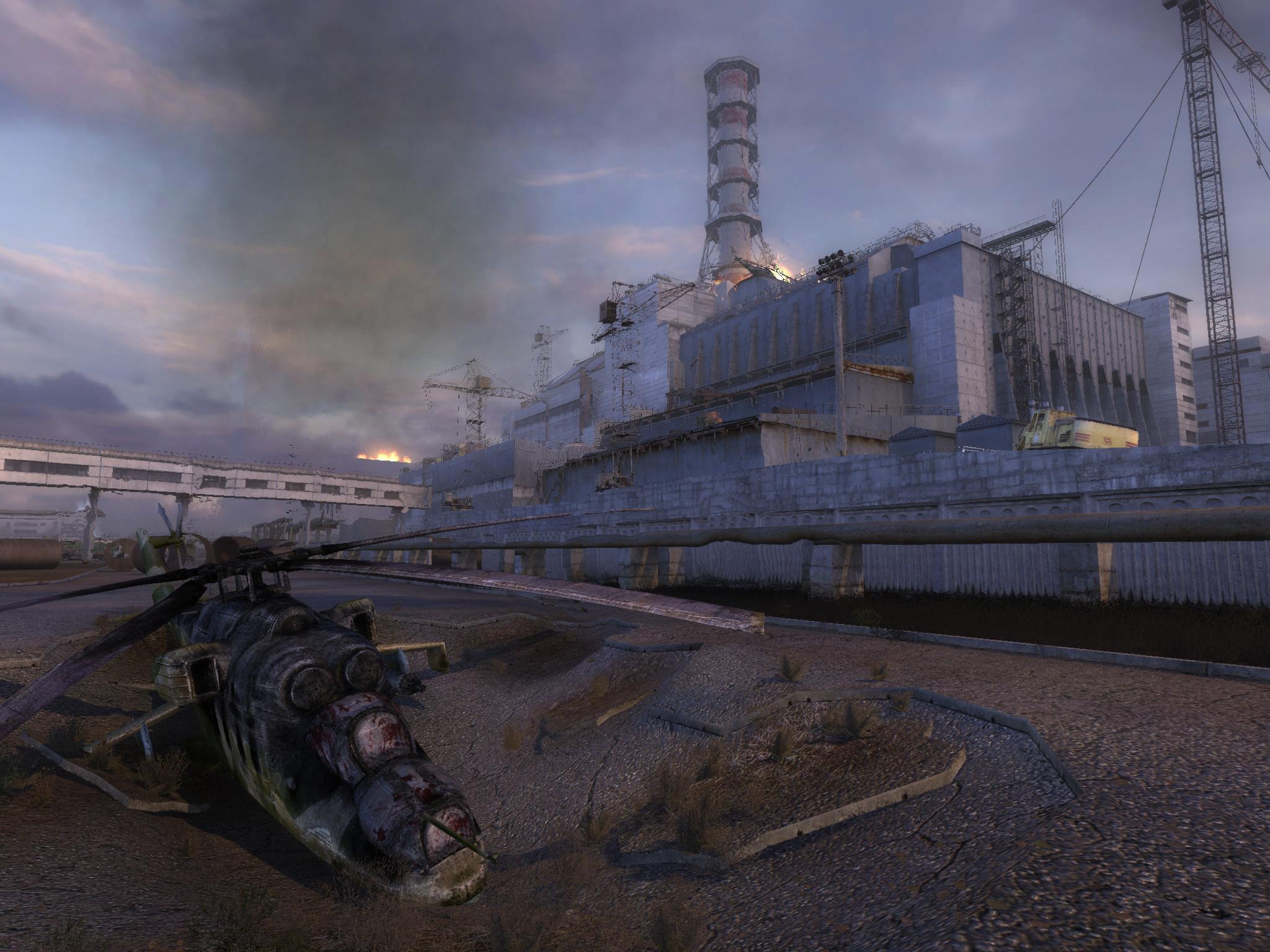 تصویر نیروگاه هستهای به گونهای که در بازی سایهی چرنوبیل بازسازی شد