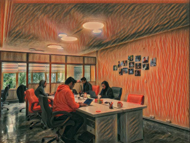 اعمال سبک تابلوی جیغ بر روی تصویر ما در دفتر کارمون :)