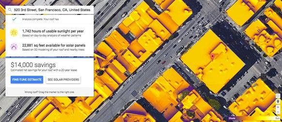 پروژه Google Sunroof با تحلیل عکسهای ماهواره ای از پشت بام خانه و میزان آفتاب در ساعات مختلف شبنهروز، به شما میگوید اگر از سلول خورشیدی برای تولید انرژی استفاده کنید، چقدر در هزینه مصرف انرژی صرفهجویی خواهید کرد.
