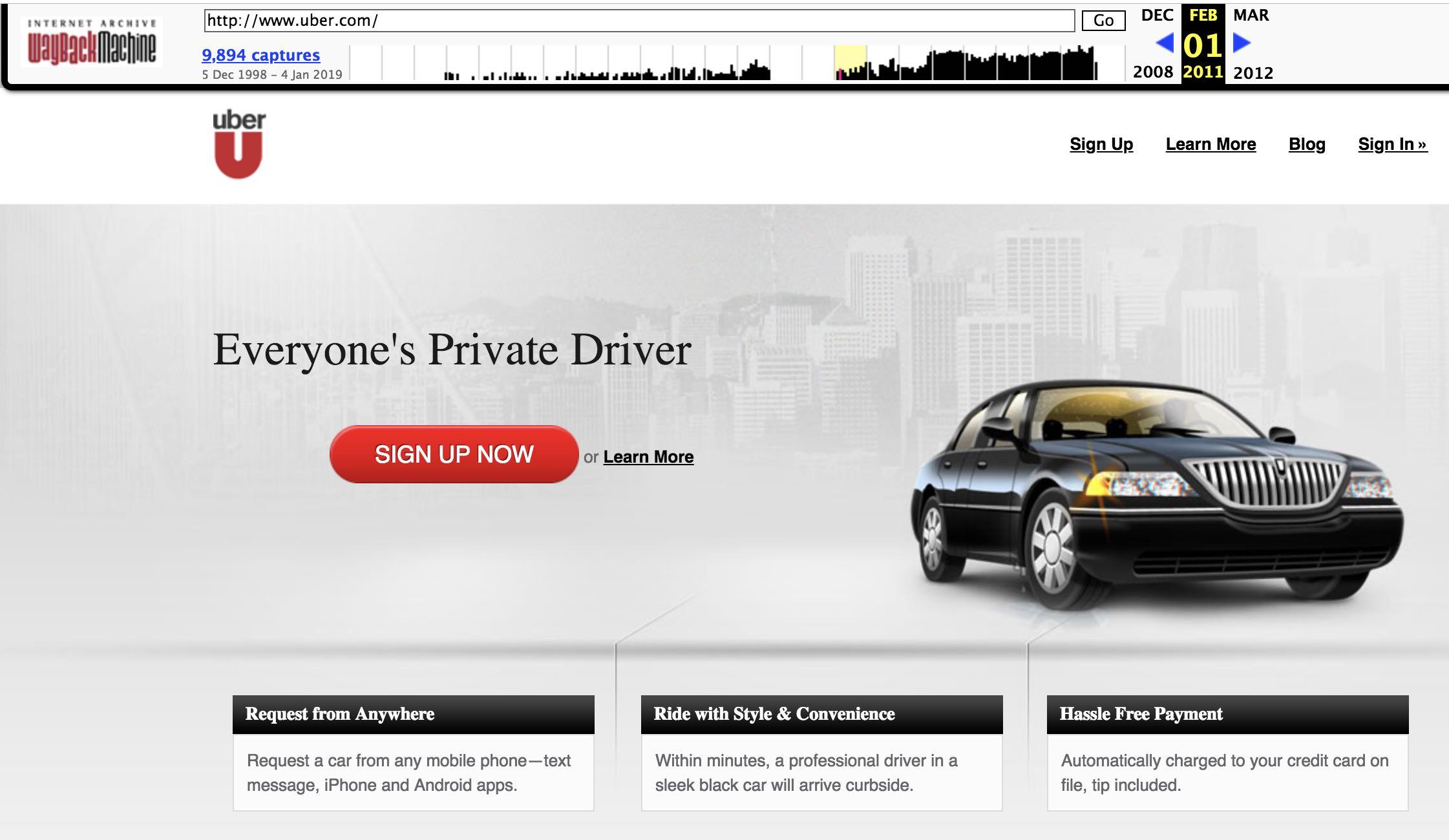 صفحه سایت uber در سال ۲۰۱۱