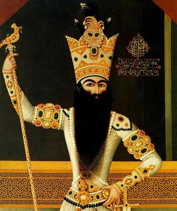 فتحعلی شاه در حال دود کردن پطر کبیر