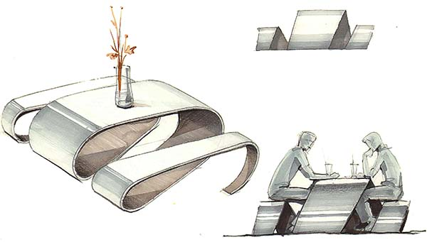 اسکچ اولیه طراحی مفهومی یک میز به همراه مبلمان آن