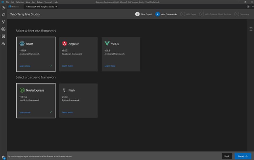 معرفی نسخه 2 Web Template Studio برای VSCode