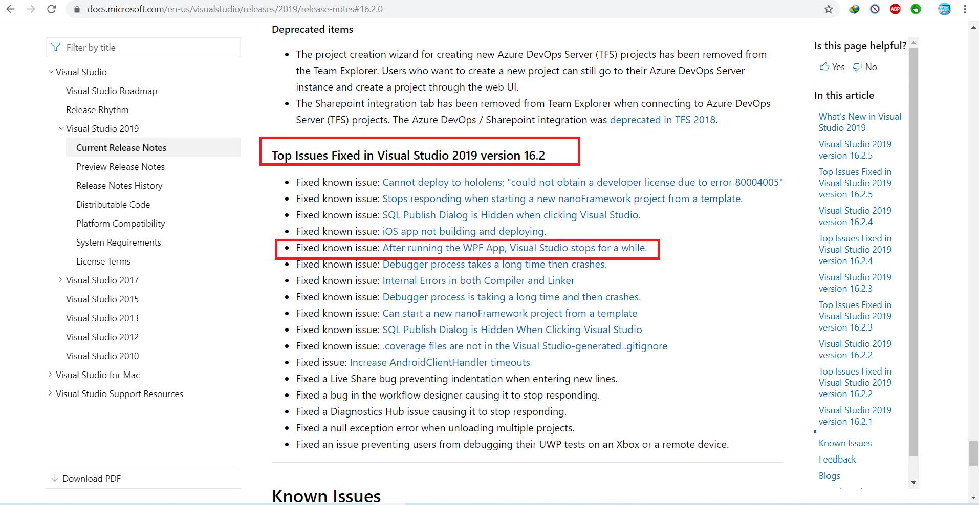 اعلام باگ گزارش شده در سایت ویژوال استودیو به عنوان یکی از مهم ترین باگ های فیکس شده