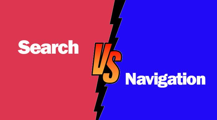navigation  VS. in-site search