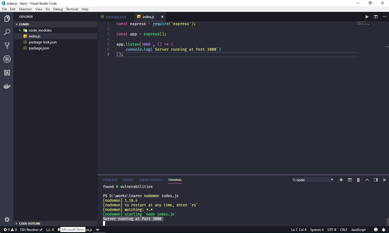 پس از اجرا با دستور nodemon index.js