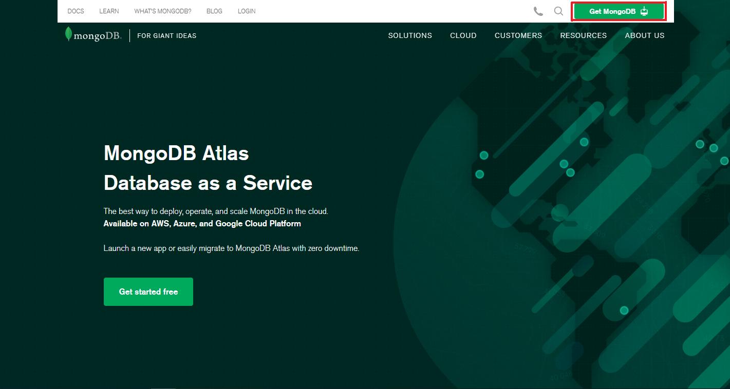 وارد سایت شده و بر روی دکمه Get MongoDB کلیک کنید.