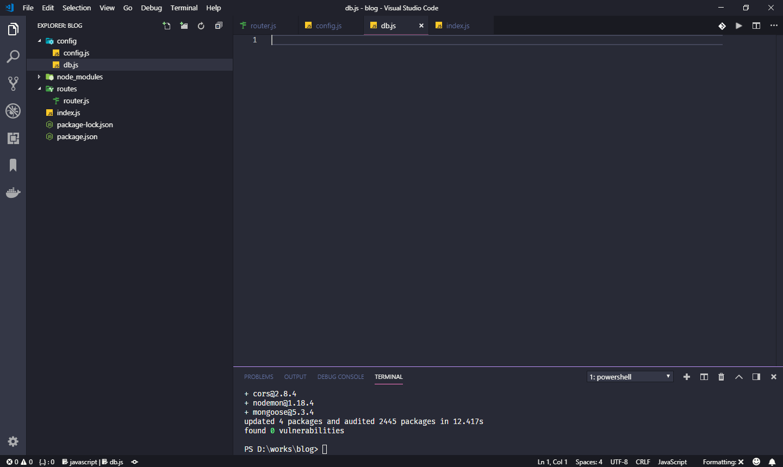 ایجاد فایل db.js جهت اتصال به دیتابیس به پوشه config