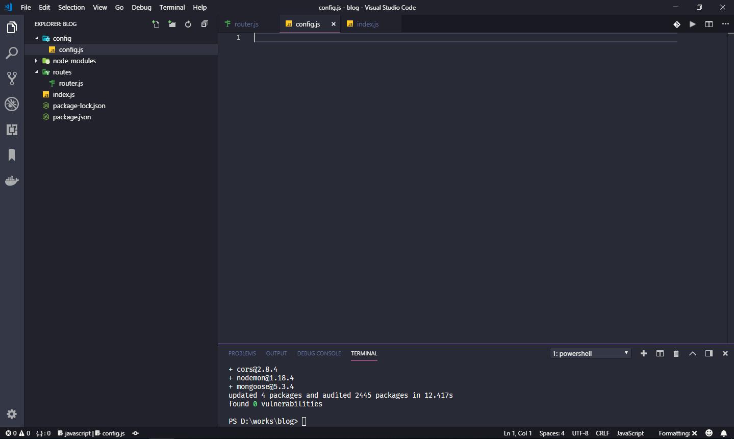 ساخت فایل config.js در پوشه config