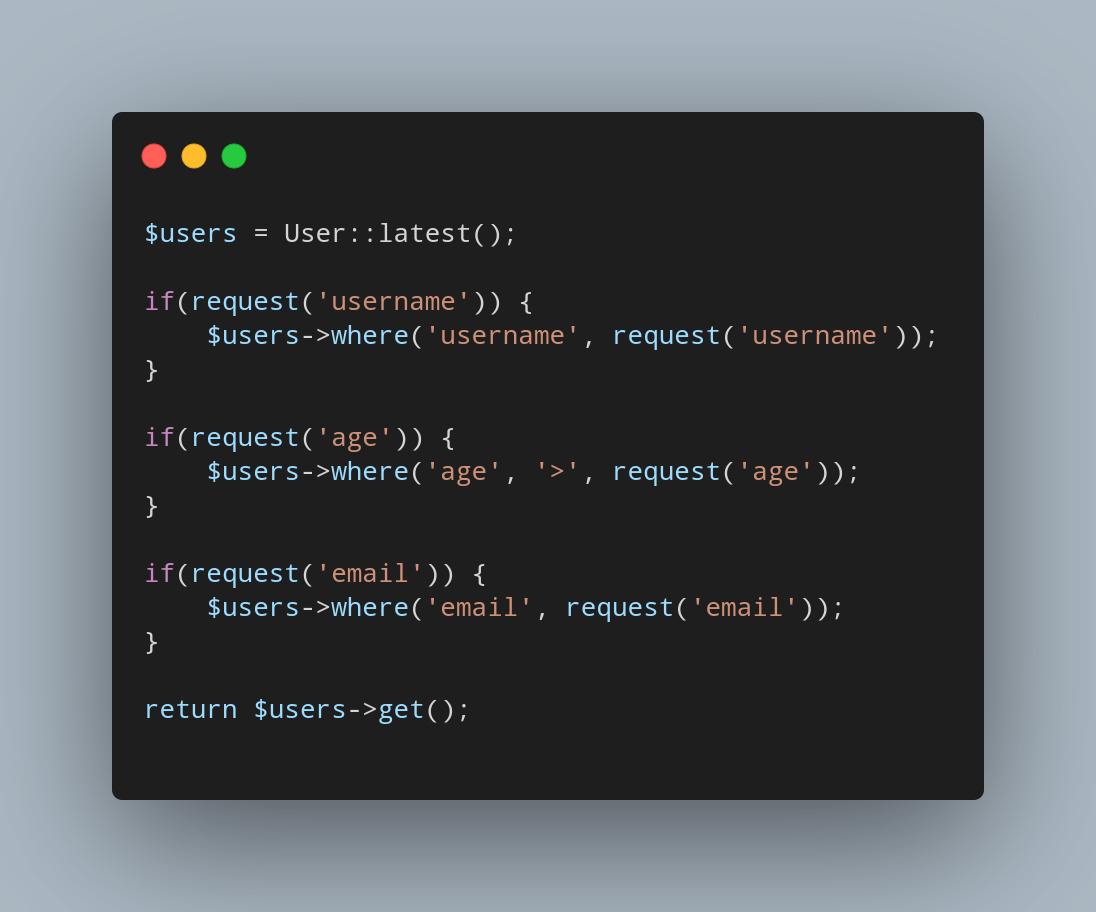 چطور در لاراول به شکلی درست کوئری خود را بر اساس URL Query String فیلتر کنیم