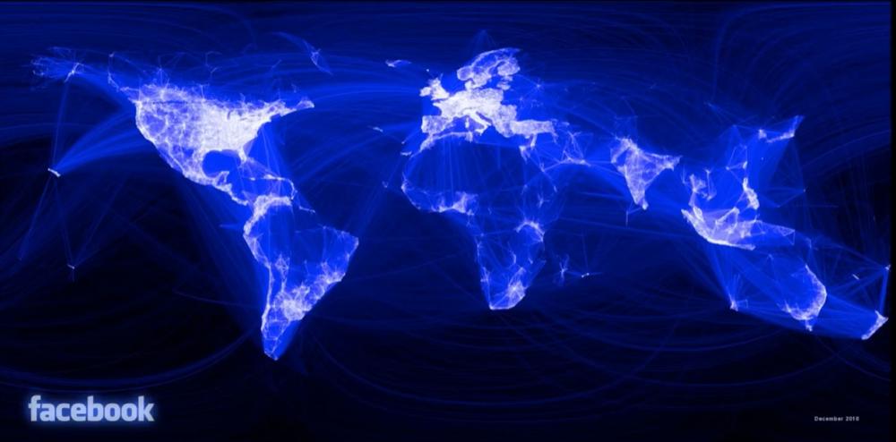مپ گرافیکی نتورک یوزرهای فیسبوک در سرتاسر جهان (خاموش بودن چین، روسیه و ایران مشهود هست)