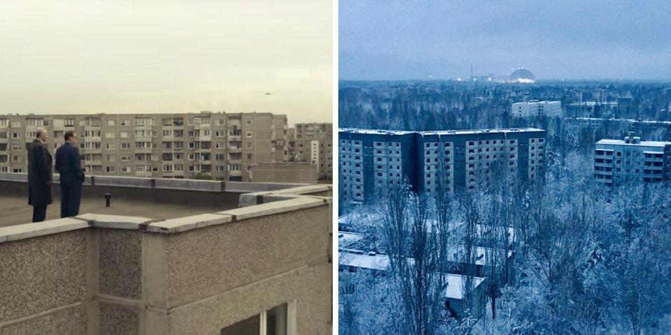 سمت چپ نمایی از شهر پریپیت بازسازی شده در سریال و سمت راست نمایی واقعی از شهر را نشان می دهد