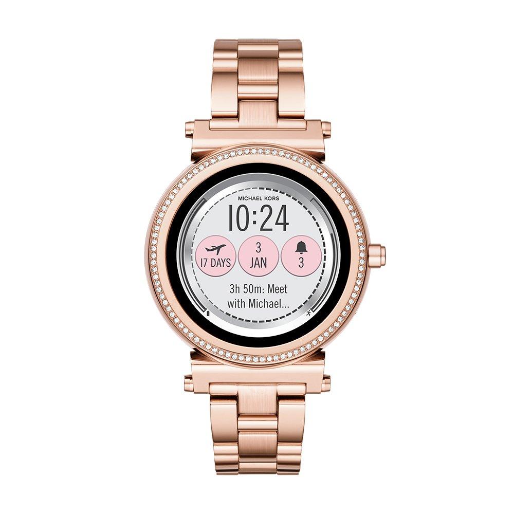 ساعت هوشمند Michael Kors. قابلیت تغییر صفحه نمایش را دارد. اعلانات موبایل را نمایش می دهد. رنگ رز گلد، ساخته شده از استیل ضد زنگ و ضد آب.