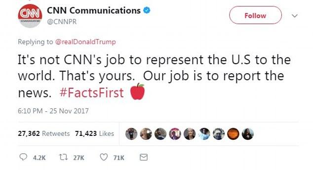 کار CNN بازنمایی ایالات متحده به جهان نیست. این وظیفه شماست (خطاب به ترامپ) وظیفه ما گزارش اخبار است. (و هشتگی با مضمون: اولویت با واقعیت است