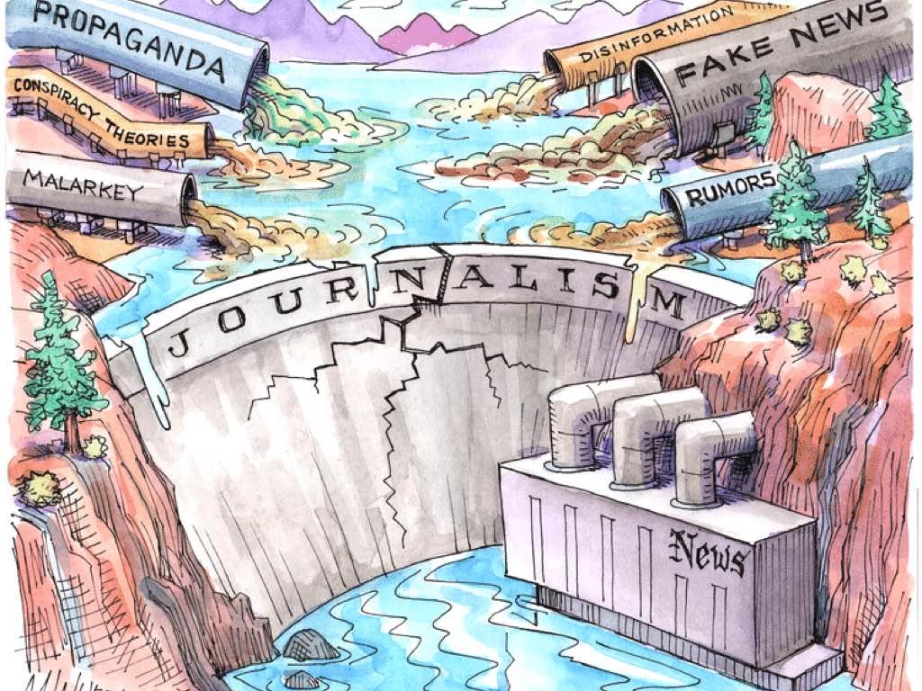 نمایی از بحران روزنامهنگاری معاصر، دیوار اعتماد مردم به رسانههای بزرگ ترک خورده است و انبوهی از آلودگیها به ذخیرهگاه معرفت بشری سرازیر است.