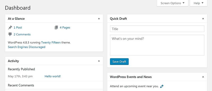 داشبورد وردپرس مدیریت همه چیز درباره سایت شما را از یک مکان آسان می کند.