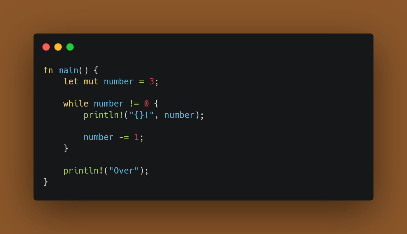 Conditional Loops with while, countdown example