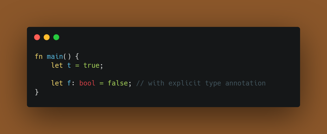 Define a Boolean with explicit type annotation
