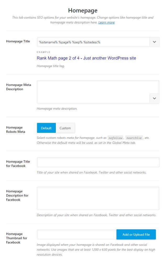 تنظیمات مربوط به داده های صفحه اصلی