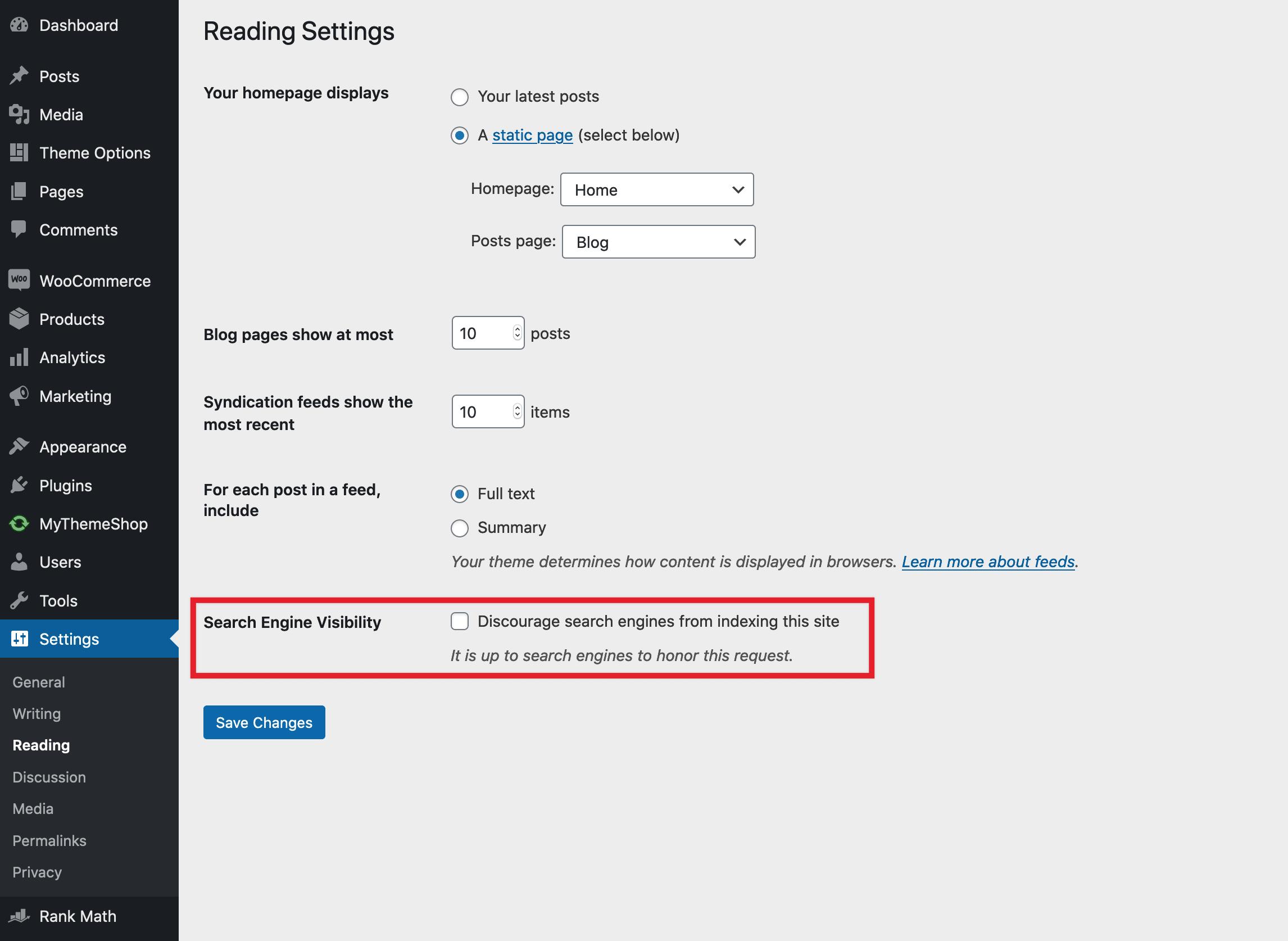 تنظیمات مربوط به نمایه نکردن موتورهای جستجو