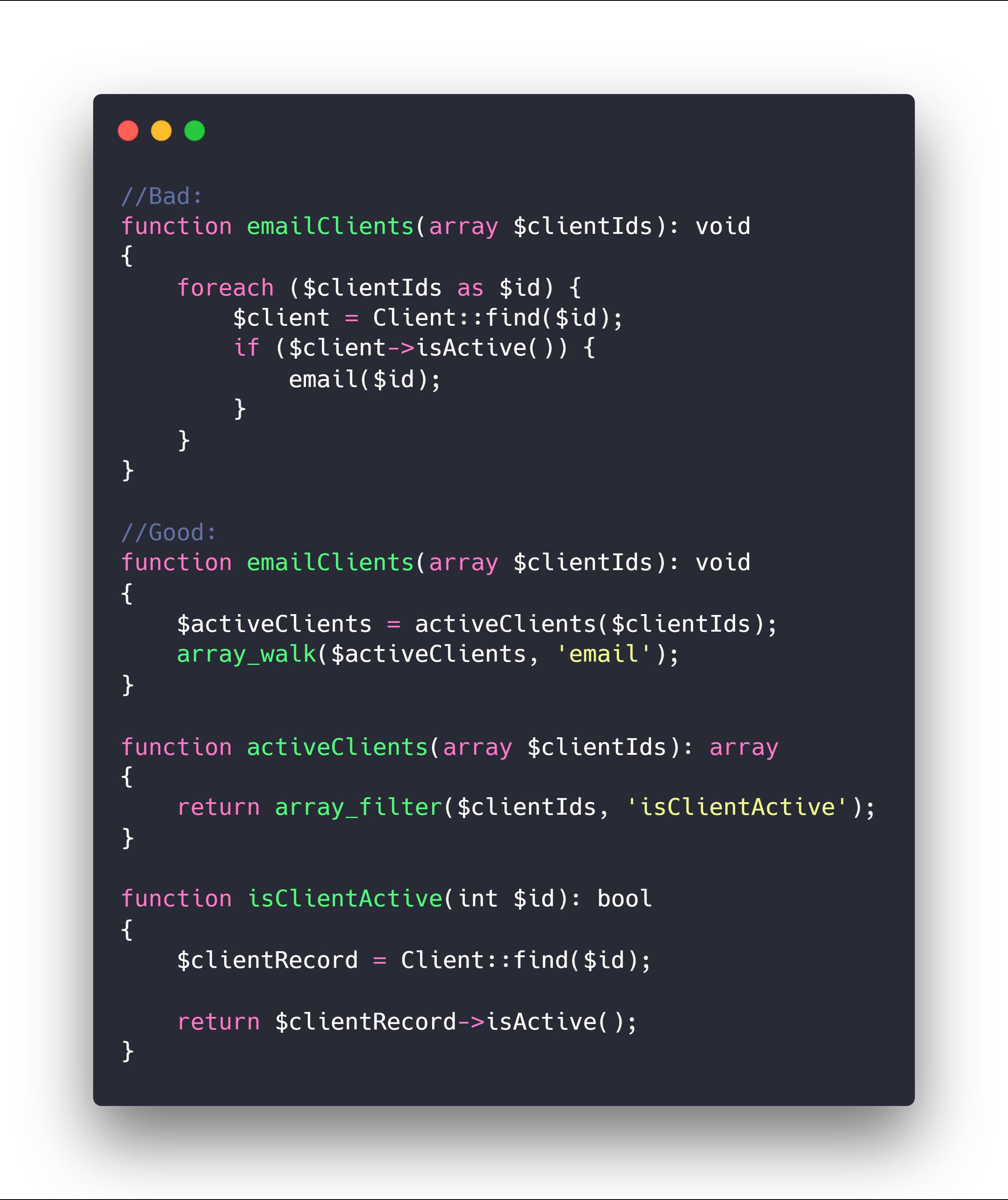 این مثال خوبی بود تا درک کنید مفهوم clean code لزوما کوتاه کردن کدنویسی نیست بلکه هدف خوانا بودن کد هستش.