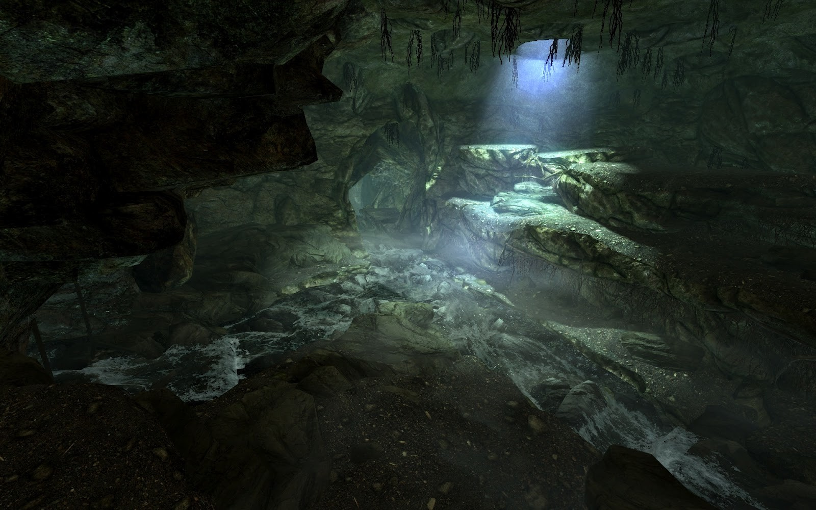 Follow the water to the open expanses of Skyrim