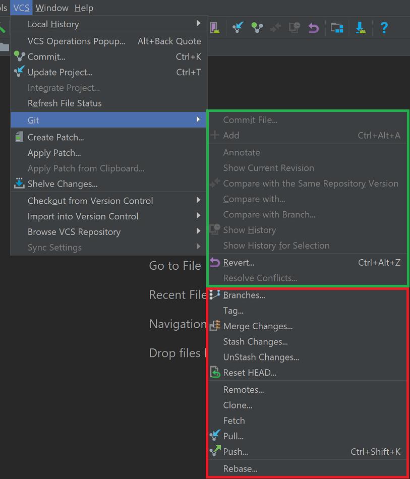 بخش سبز: عملیات فایل و بخش قرمز: عملیات ریپازیتوری