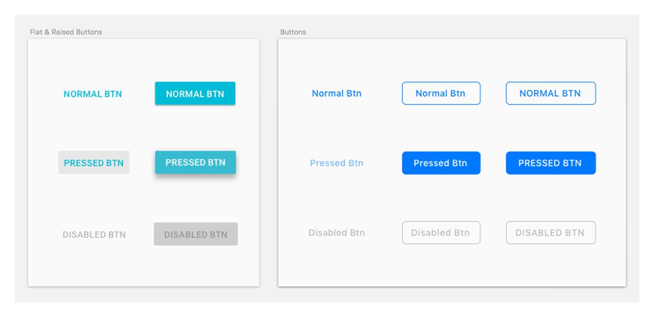 Left — standard Material Design buttons; right — standard HIG buttons